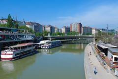 The Donaukanal on a sunny day in Vienna royalty free stock image