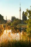 Donauturm and Alte Donau. At sunrise, Vienna Austria Royalty Free Stock Photography