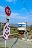 Donauuferbahn. Crossing without barriers stock photography