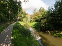 Donauworth,一个典型的巴法力亚城市在德国 库存照片
