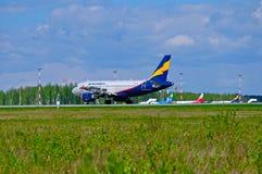 Donavia空中客车A319-111飞机在普尔科沃国际机场登陆在圣彼德堡,俄罗斯 免版税库存照片