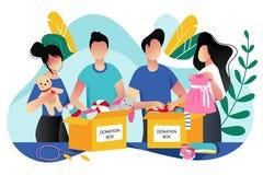 Donazione dei vestiti dei bambini e dei giocattoli Illustrazione piana d'avanguardia del fumetto di vettore Concetto sociale di c royalty illustrazione gratis