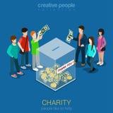 Donazione di carità che costituisce un fondo per web isometrico piano 3d infographic Immagini Stock Libere da Diritti