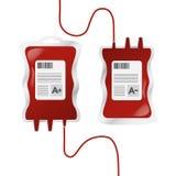 Donazione di sangue, illustrazione di vettore con i dispositivi di gocciolamento e gruppo sanguigno Fotografie Stock