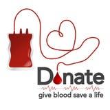 Donazione di sangue, illustrazione di vettore, concetto con il dispositivo di gocciolamento, sangue Fotografia Stock