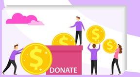 Donazione di soldi La mini gente dona i soldi alla scatola Il gruppo di donatori d? i soldi Pu? usare per l'insegna di web, infog royalty illustrazione gratis