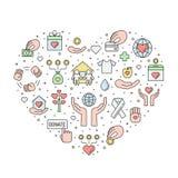 Donazioni ed illustrazione del cuore del profilo colorata carità Fotografie Stock Libere da Diritti