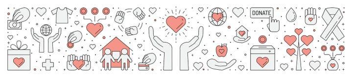Donazioni ed illustrazione orizzontale di carità (rossa e grigia) (fondo) Progettazione semplice del profilo Fotografie Stock Libere da Diritti