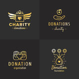 Donazioni ed insieme d'annata di vettore di logo dell'oro di carità Parte due Fotografia Stock