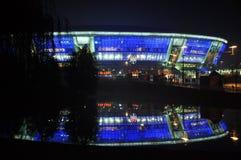 Donbass竞技场在晚上 免版税图库摄影