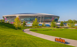Donbass Arena stadium. DONETSK, UKRAINE - APRIL 06: Donbass Arena stadium on April 06, 2012 in Donetsk, Ukraine. The stadium hosts Football Club Shakhtar Donetsk Stock Photos