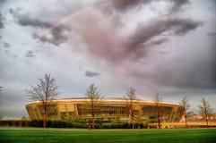 Donbass Arena Stadium in Donetsk, Ukraine. DONETSK, UKRAINE - After the Rain: Donbass Arena stadium in the spring of 2012 with a rainbow in Donetsk, Ukraine Stock Photos