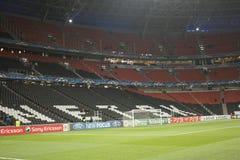 Donbass Arenastadion i timmen för matchen Arkivfoto