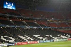 Donbass Arenastadion i timmen för matchen Royaltyfri Bild