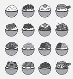 Donburi ( Japanese rice bowl ) icon and logo. On gray background Stock Photo