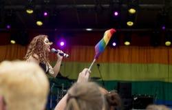 Doncaster dumy 19 Aug 2017 LGBT festiwal, Donna Ramsdale jako Jef Zdjęcia Royalty Free