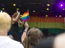 Doncaster dumy 19 Aug 2017 LGBT festiwal, tęczy flaga, festiva Zdjęcia Royalty Free