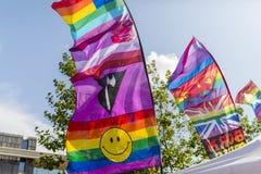 Doncaster dumy 19 Aug 2017 LGBT festiwalu sztandary i flaga Zdjęcia Royalty Free