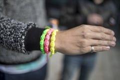 Doncaster Pride 19 Aug 2017 LGBT Festival, bracelets, bangles stock photos