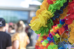 Doncaster Pride 19 Aug 2017 LGBT Festival leis merchandise stall Stock Photos