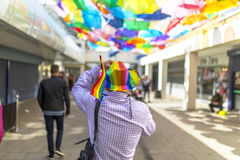 Doncaster Pride 19 Aug 2017 LGBT Festival, man wearing rainbow f royalty free stock images