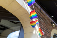 Doncaster Pride 19 Aug 2017 LGBT Festival, rainbow flag bunting. Outside a pub stock photography