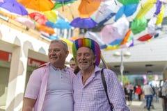 Doncaster Pride 19 Aug 2017 LGBT Festival, umbrella canopy. Doncaster Pride 19 Aug 2017 LGBT Festival, colourful rainbow umbrella canopy stock images