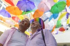 Doncaster Pride 19 Aug 2017 LGBT Festival, umbrella canopy. Doncaster Pride 19 Aug 2017 LGBT Festival, rainbow colours umbrella canopy stock image