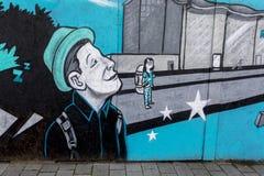 Doncaster sztuki malowidła ściennego Doncaster rudzika kapiszonu uliczny lotnisko zdjęcia stock