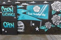 Doncaster sztuki uliczny malowidło ścienne, Kukurydzana wymiana, rynek zdjęcie royalty free