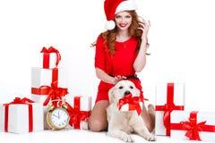 Doncella y perro de Labrador con los regalos de la Navidad Fotos de archivo libres de regalías