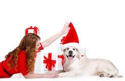 Doncella y perro de Labrador con los regalos de la Navidad Fotografía de archivo libre de regalías