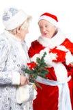 Doncella y Santa de la nieve de las viejas señoras Imagen de archivo libre de regalías