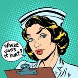 Donde daña la pregunta de la enfermera stock de ilustración