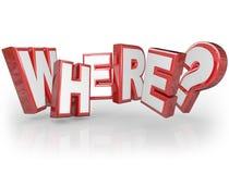 Donde el rojo de la palabra 3D pone letras al signo de interrogación de la ubicación del misterio Fotos de archivo libres de regalías