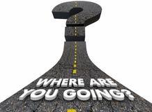 Donde está usted pregunta que va Mark Road Destination Direction 3d ilustración del vector