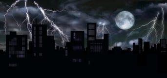 Donder & volle maan over stad Stock Illustratie