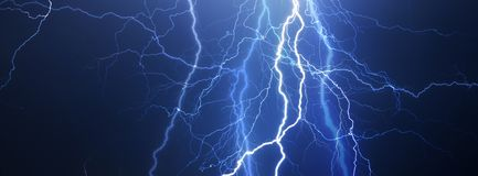Donder, bliksem en regen royalty-vrije stock afbeeldingen