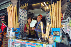 Dondurma ice-cream sellers in Istanbul stock image