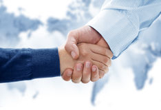 Done. Close up view of business people handshake in office environmeny Royalty Free Stock Images