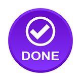 Done button. Vector illustration of done icon web purple round button on white background vector illustration