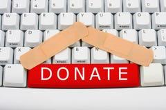 Done el dinero en línea Fotos de archivo libres de regalías