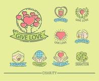 Done el vector determinado de la ayuda de la humanidad de los símbolos de la filantropía de la caridad de la contribución de la d libre illustration