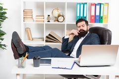 Done enough for today. Man bearded hipster boss sit in leather armchair office interior. Boss at workplace. Manager. Formal clothing corporate style working stock photos