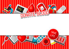 Done la sangre Fondo con los artículos de la donación de sangre Objetos médicos y de la atención sanitaria de la etiqueta engomad Fotos de archivo libres de regalías