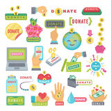 Done los botones fijados Donación del icono de la ayuda Fotografía de archivo