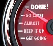 Done Speedometer Tracking Progress Destination Stock Images