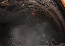 Donec'k, Ucraina - 14 marzo, 2014: Il driver del minatore delle miniere di carbone Immagini Stock