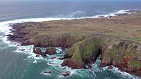 Вид с воздуха кровопролитного форланда, графство Donegal, Ирландия акции видеоматериалы