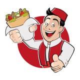 Doner di kebab del servizio dell'uomo Fotografia Stock Libera da Diritti